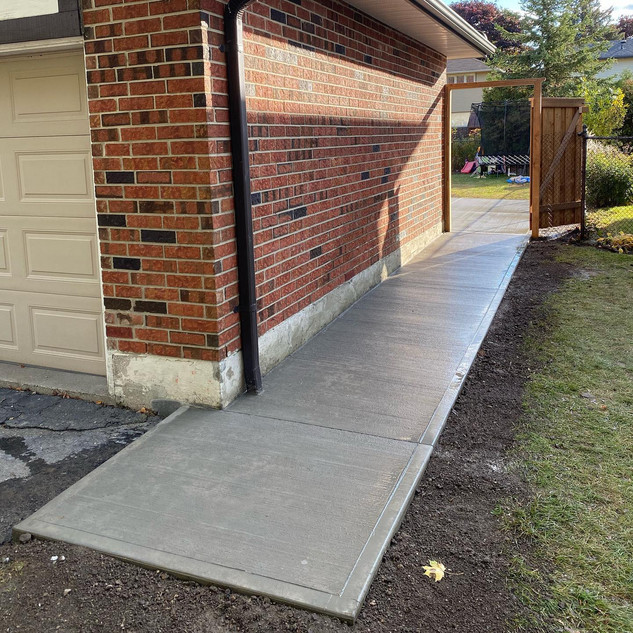 Concrete walkway and patio