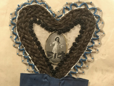 Hair Work Heart with Beads & Ribbon