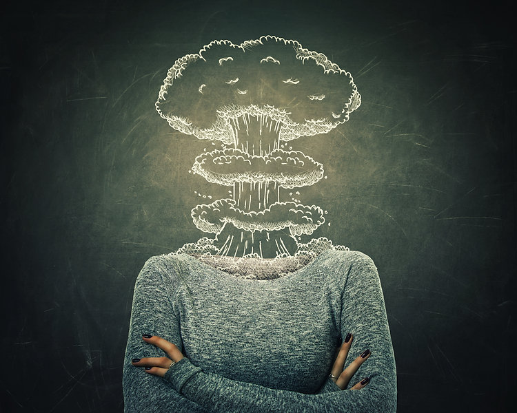 Surreal image young woman head explosion