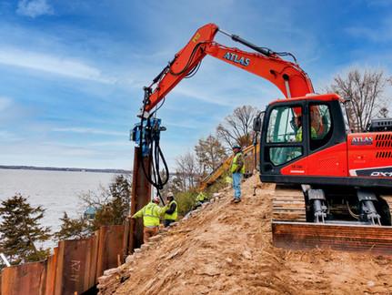 Sheet Pile Earth Retention on Lake Minnetonka
