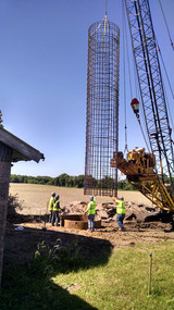 Rebar Cage being placed inside the casing