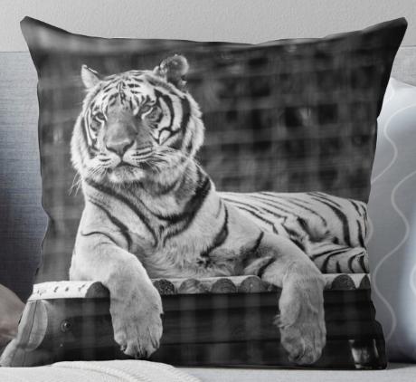 B&W Tiger Throw Pillow