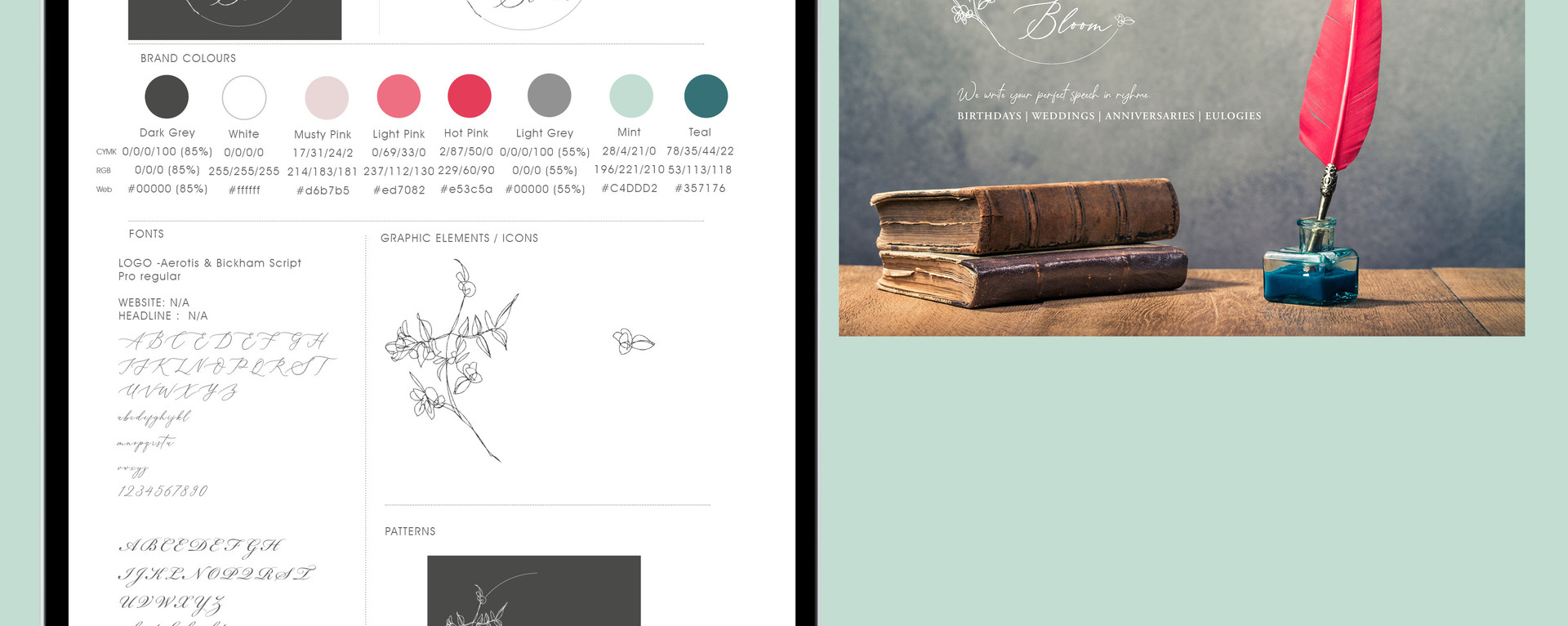 WEBSITE DESIGN AND BRAND GUIDE | AUTUMN AND  BLOOM