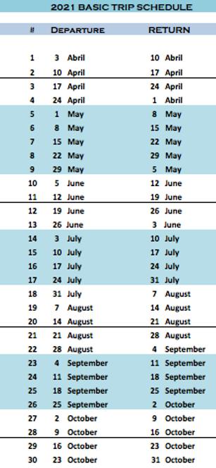 Schedule Mentawai trips 2021