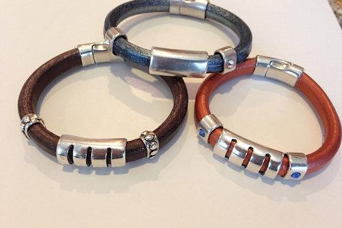 Tropical Slate Blue Leather with Swarovski Crystals Bracelet