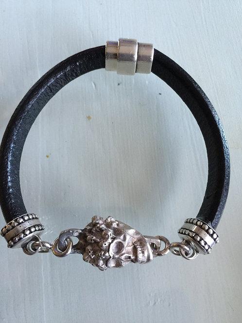 Black Leather Sterling Silver Skull Magnetic Bracelet