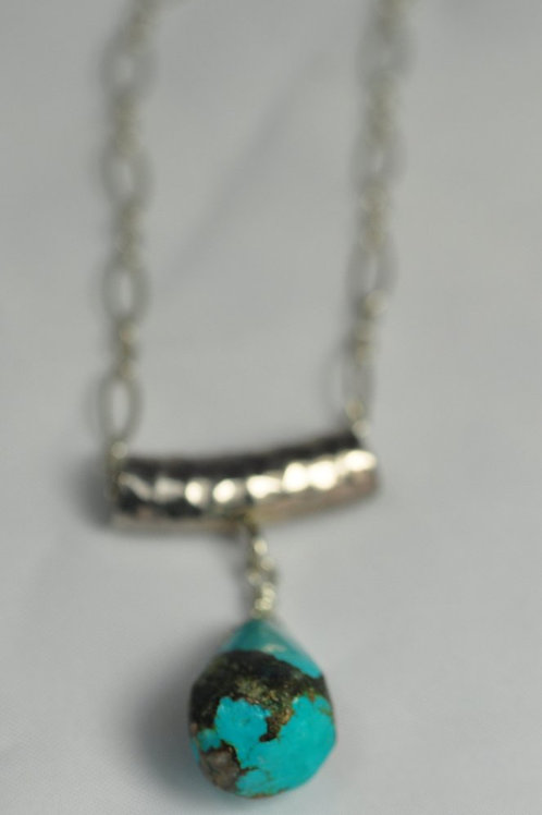 Sterling Silver Slider with Turquoise Teardrop Necklace