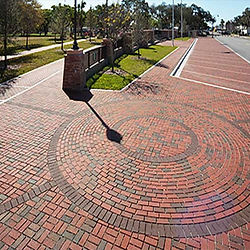 Clay brick pavers in a circular shape of