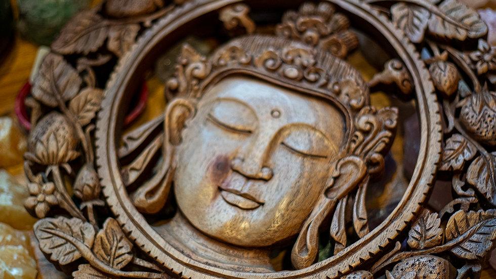 Hand carved Bali wood Buddha