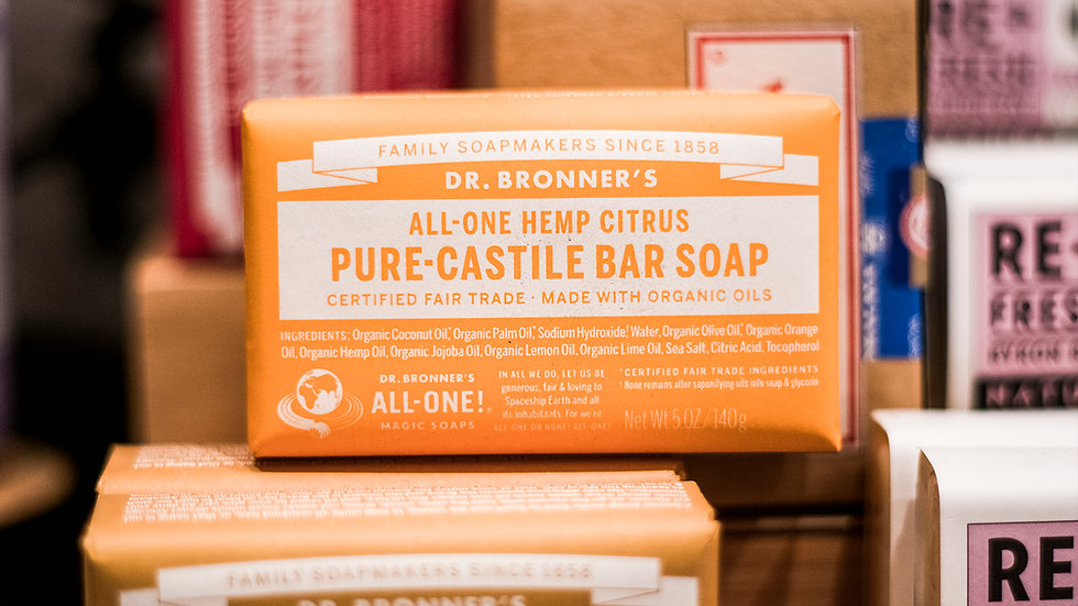 Hemp Citrus -Pure Castile Bar Soap - Dr Bronners All in one soap