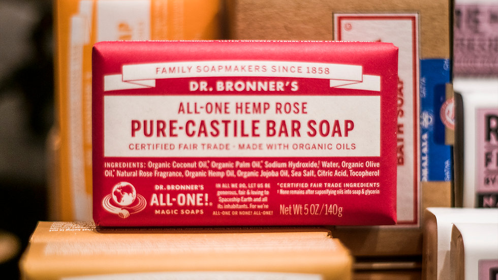 Hemp Rose -Pure Castile Bar Soap - Dr Bronners All in one soap