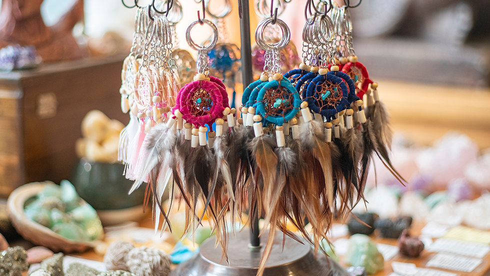 Dream Catcher Feather Keyring