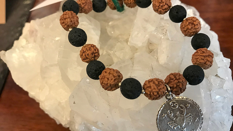 Cancer Lava & Rudraksha bead bracelet