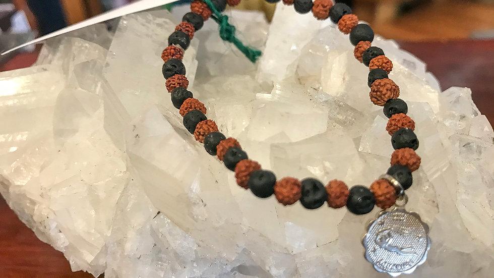 Aquarius Lava & Rudraksha bead bracelet