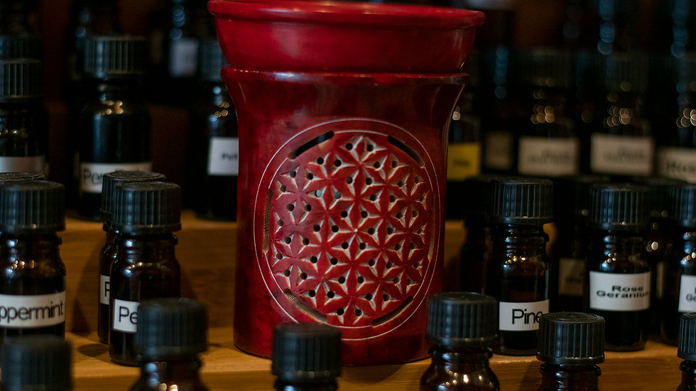 Red Soap Stone Oil Burner