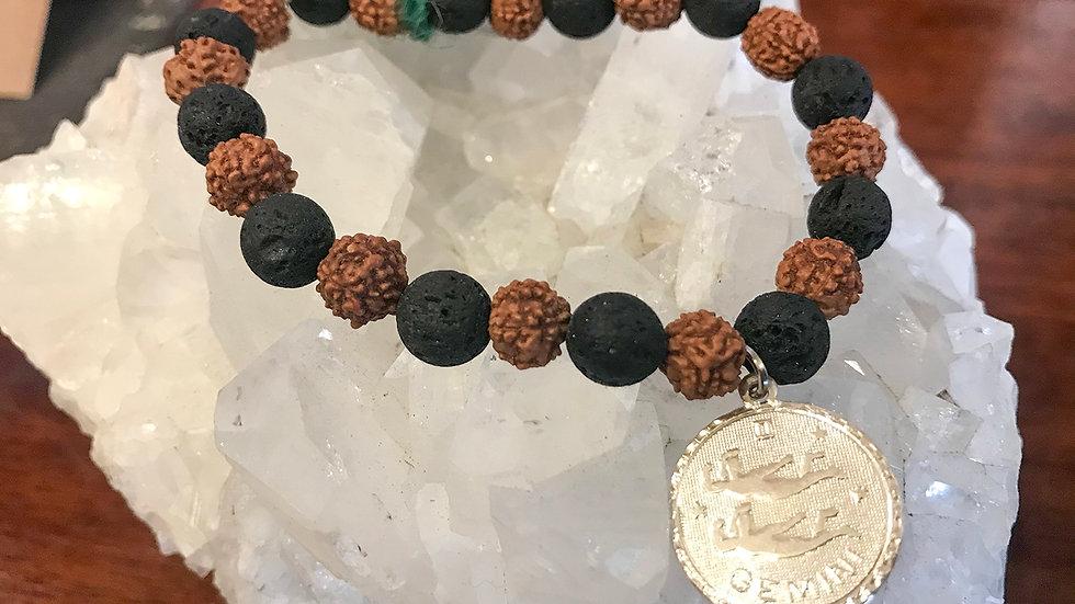 Gemini Lava & Rudraksha bead bracelet