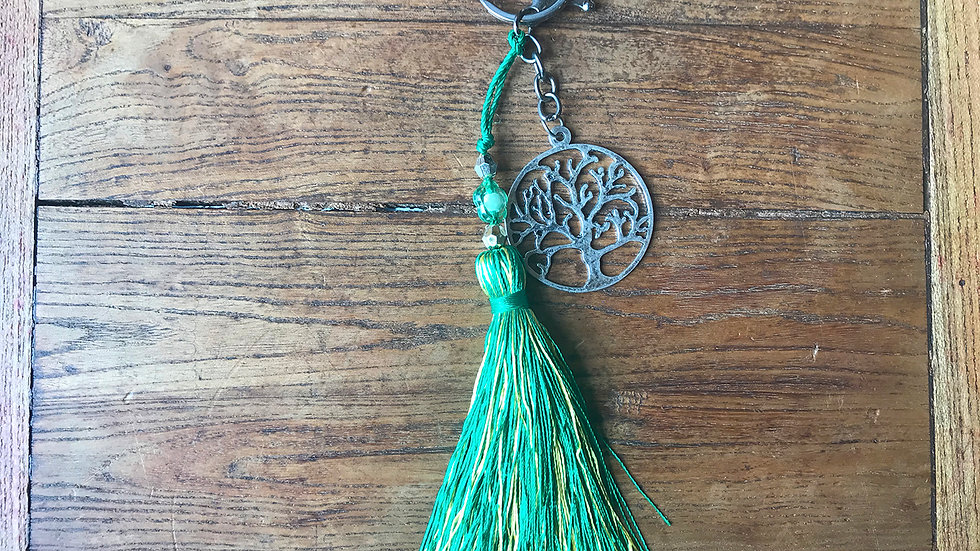 Tree of Life Tassel Keyring