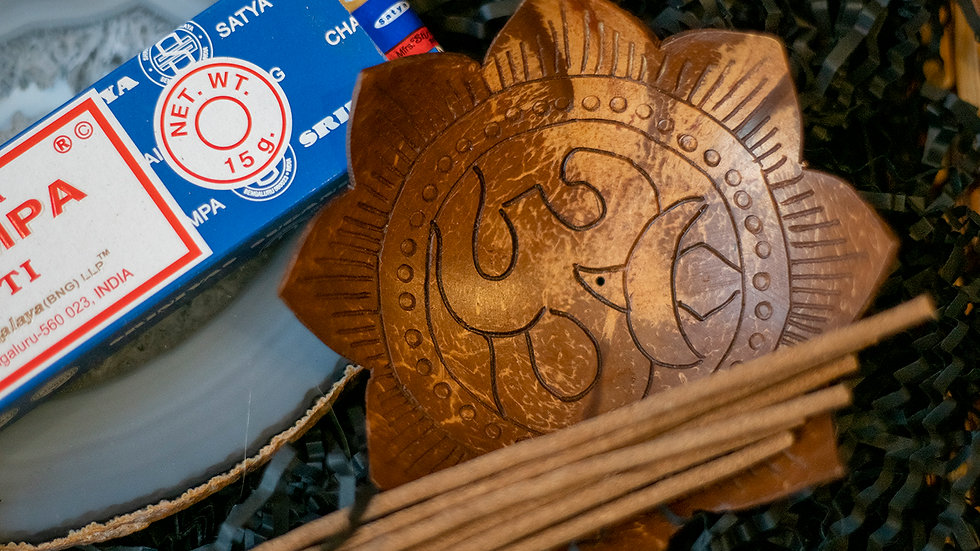 'OM' Wooden incense holder