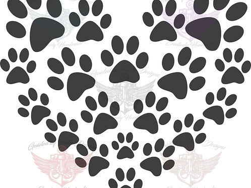 Pawprint with hearts