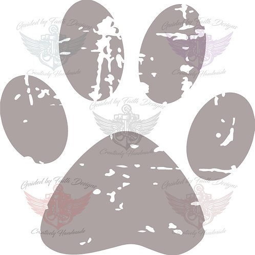 Grunge paw print