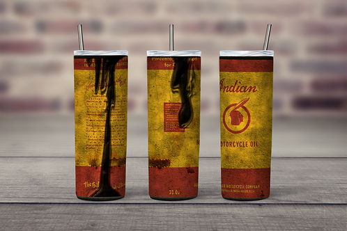 Indian Motorcycle Oil Can grungy inspired