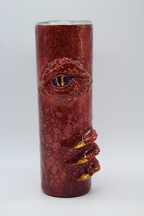 Deep Red Mica with Gold Glitter Dragon