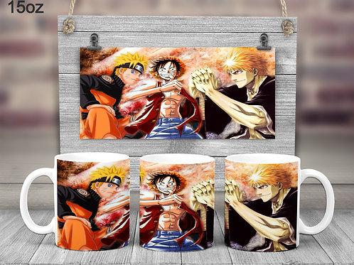 Naruto, Luffy, Ichigo Mashup Coffee Mug