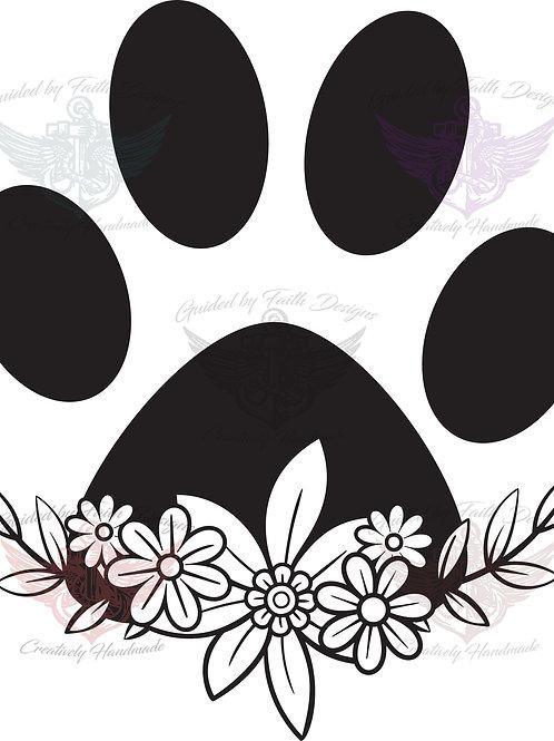 Floral Paw Print