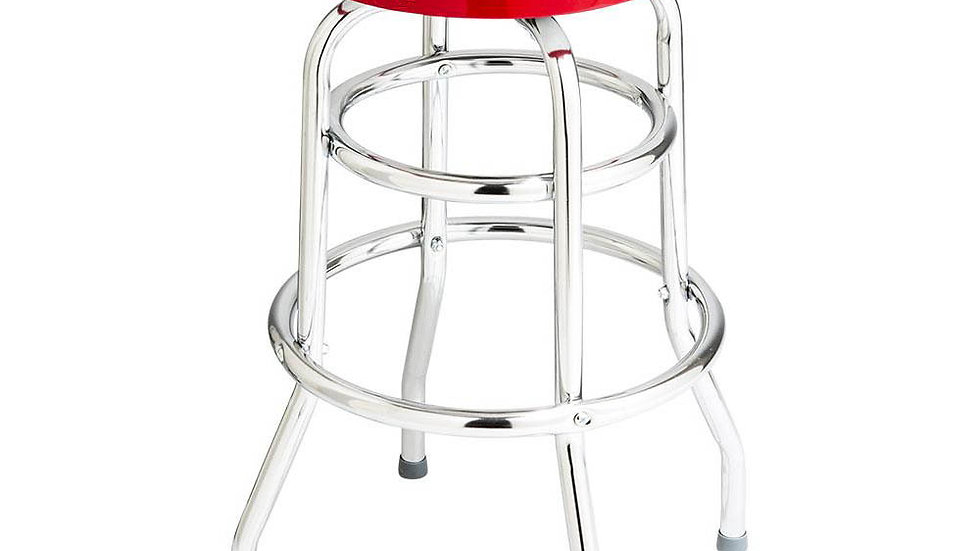 Double Ring Chrome Bar Stool with Logo