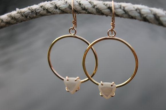 $49.00 - Mother of Pearl Goddess Hoops