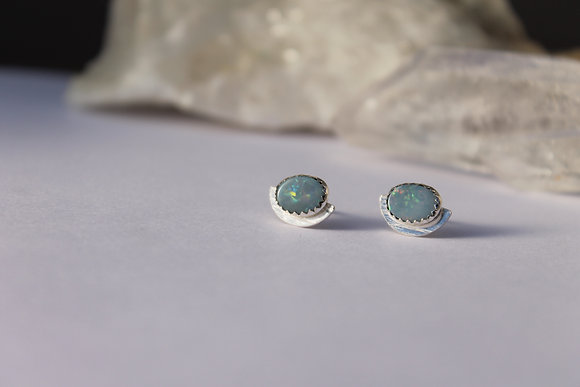 Lunar Reflection Opal Studs X