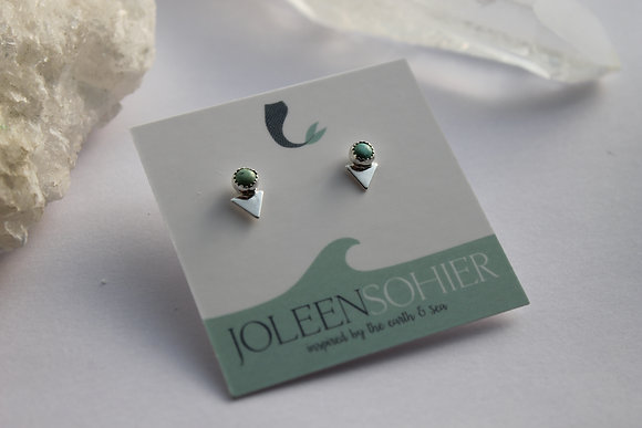 Turquoise Triangle Stone Studs