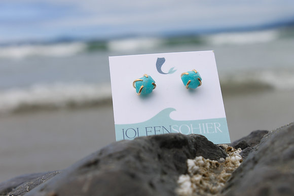 Geo Amazonite Studs ~ Gold Filled
