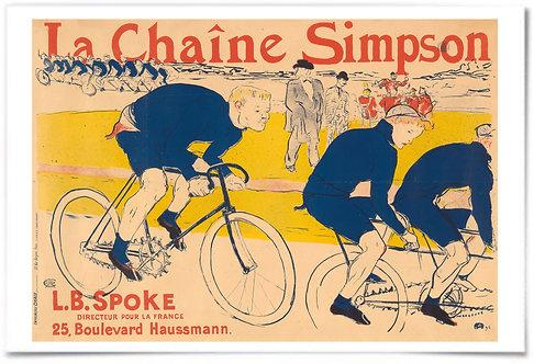 The Simpson Chain 1896 (Henri de Toulouse-Lautrec) 24x36 Poster vintage bicycle