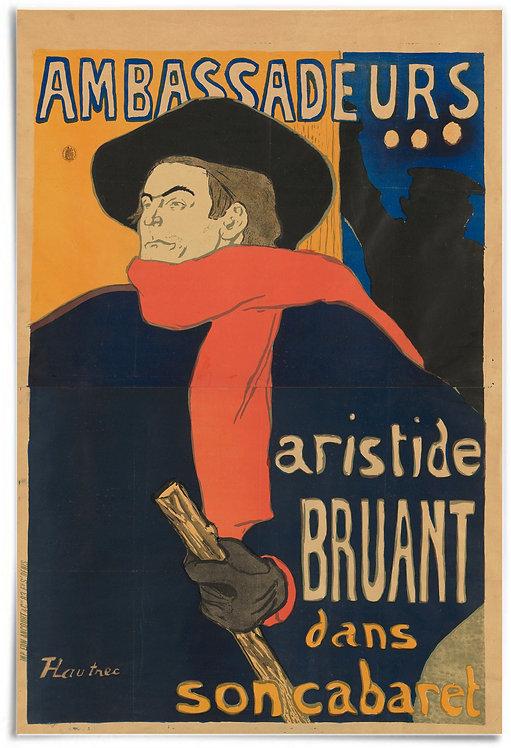 """Ambassadeurs: Aristide Bruant, 1892 (Henri de Toulouse-Lautrec) - 24x36"""" poster"""