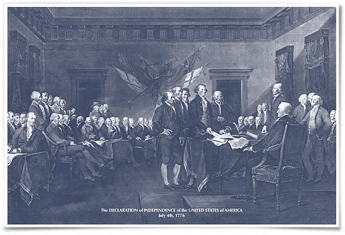 Signing the Declaration of Independence (Durand) Blue colored - 24x36""