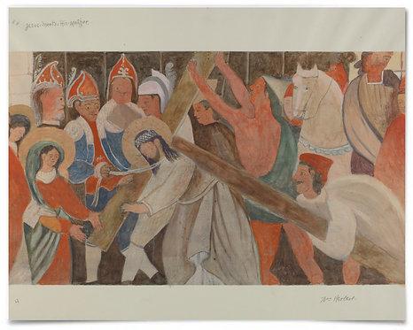 Station of the Cross No. 4 Jesus Meets His Mother 1936, W Herbert -16x20 Print