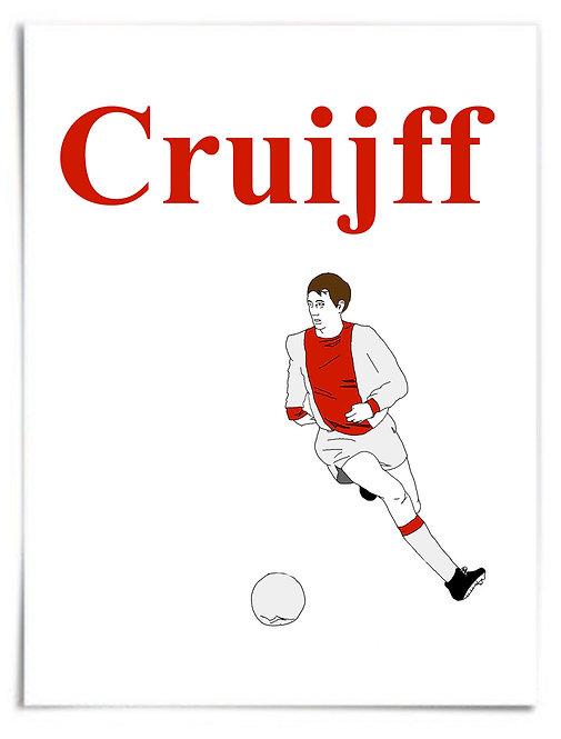 "POSTER - 16x20"": Johan Cruyff (Cruijff) AFC Ajax Amsterdam, Simple Illustration"