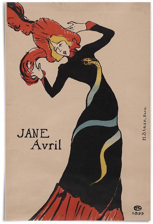 Jane Avril, 1889 (Henri de Toulouse-Lautrec), Poster 24x36 inch print