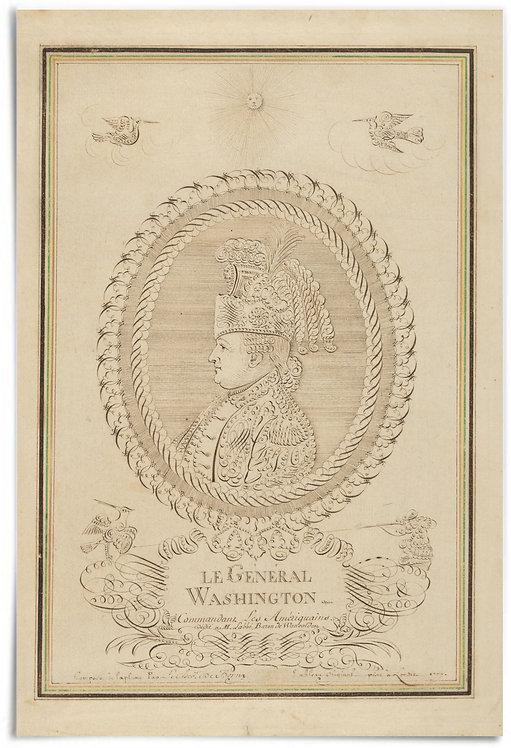 "Calligraphic Profile Portrait of Washington, 1777 (French) - 24""x36"""