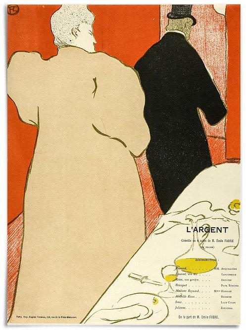"""Program for L'Argent 1895 - Henri de Toulouse-Lautrec - 24x36"""" Poster / print"""