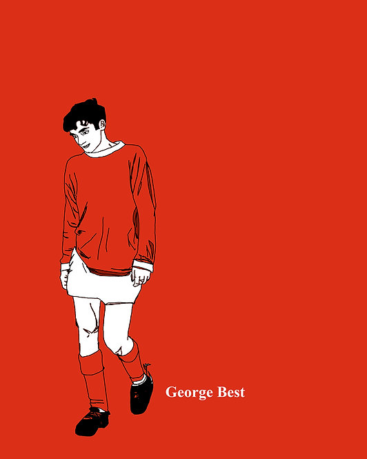 "16""x20"" Poster : Young George Best (Manchester United), Red, Simple Illustration"