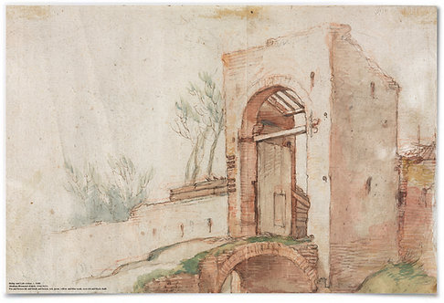 "Bridge and Gate (verso) c. 1600 - Abraham Bloemaert - 24x36"" Poster"