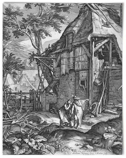 "Abraham Casting Out Hagar, 1603 Jacob Matham, after Bloemaert - 16x20"" Poster"