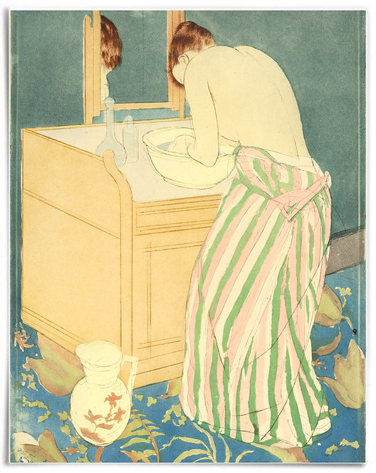 Poster: Woman Bathing, 1890-1891, Mary Cassatt - 22x28 inch, print