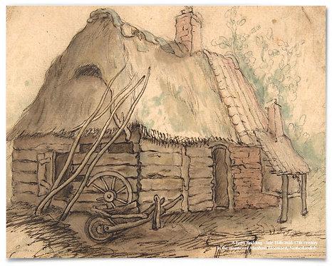 "Farm Building, 16th Century, Abraham Bloemaert, Netherlandish - 16x20"""