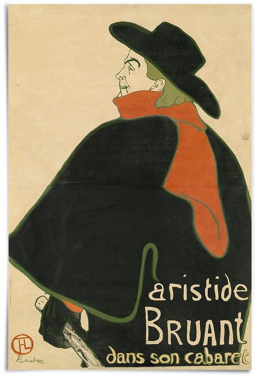 Aristide Bruant, in His Cabaret, 1893 - Henri de Toulouse-Lautrec - Poster 24x36