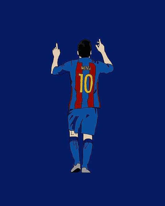"POSTER - 16x20"": LIONEL MESSI (Barcelona, pointing upwards), Simple Illustration"