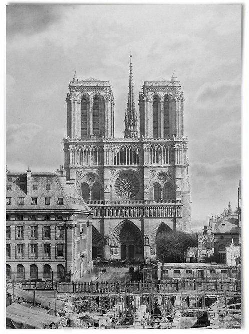 """Notre-Dame Cathedral, (early 1860s photo) Charles Soulier - 16x20"""" inch"""