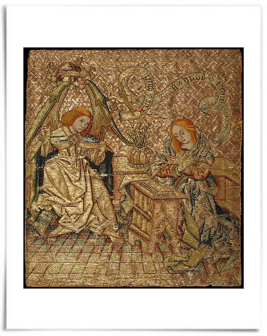 Embroidery with the Annunciation, mid-15th century -Netherlandish- 22x28 Poster